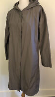 EILEEN FISHER Size M Trench Coat Hooded Gray Lightweight Snap Front Pockets