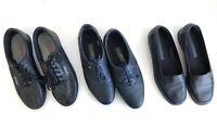 3 Easy Spirit Women's Shoes Black Navy Leather Comfort Walking API Oxford Sz 9
