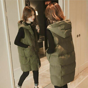 Ladies Hooded Long Zip Up Puffer Coat Women Padded Vest Gilet Jacket Body Warmer