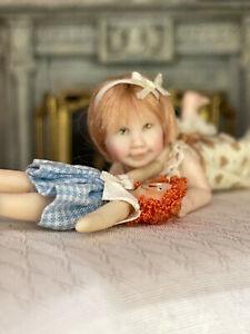 Vintage Miniature Dollhouse Doll Artisan Sculpted Carol McBride Toddler Girl