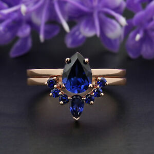 Blue Sapphire Pear Stone Ring 14K Solid Gold Engagement Wedding Gift Ring GR170