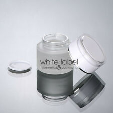 50G FROSTED GLASS CREAM COSMETIC JAR WHITE/SILVER WHOLESALE-NEW 50 PCS/LOT