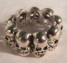 SINGLE ROW SKULL BAND RINGS biker chopper ring BR23 mens womens jewelry skulls