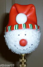 Handmade Red Hat Snowball Snowman Lampshade Finial *New*