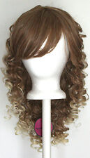 17'' Long Tight Curly Fade w/ Long Bangs Brown to Blonde Cosplay Wig NEW