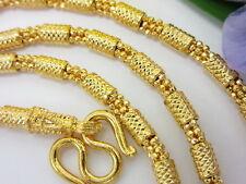 "STUNNING Diamond-Cut Mix Link 24"" Chain 22K 24K Gold GP Baht Thai Necklace GT4"