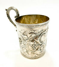 Gorham Coin Silver Handled Cup, 1860. Repousse Grapes and Leaves