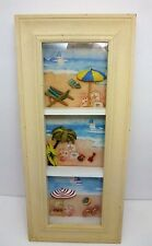 BEACH SCENES FRAMED 3 SECTION WALL HANGING DISTRESSED 3D SHADOW BOX