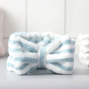 Microfiber Bowtie Headband Makeup Bow Headband Face Wash Shower Spa Hairband