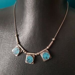 Sterling Silver 925 necklace Turquoise Stones Vintage Israel