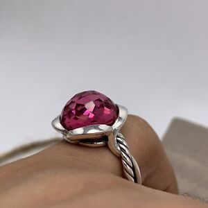 David Yurman Sterling Silver Continuance Ring With 14mm Pink Tourmaline Sz 6