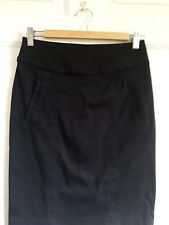 Black Pencil Skirt Cotton Blend Knee Length Uk 8 H&M Zip Eu 38 Career
