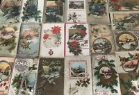 ~Lot of 25 Christmas Holiday Postcards with Winter Snowy Scenes ~Holly~a455