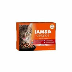 4 x Iams Delights Land and Sea Collection in Gravy Cat Food 12 x 85g (1.02kg)