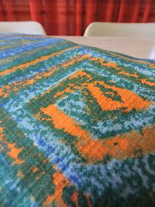 Vintage 1970s Thick Cotton Curtain Geometric Panel Fabric