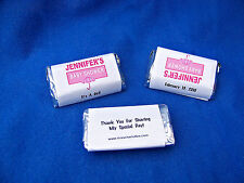 56 Personalized Baby Shower Girl Miniatures Candy Wrappers Favor Labels Stickers