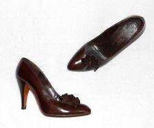 CHARLES JOURDAN escarpins cuir glacé brun foncé P 38 (8½ B) TBE