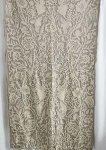 handmade crewel embroidered floral & linen interiors fabric length