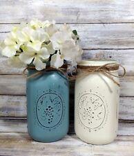 (2) Summer House Rustic Painted Mason Jar Utensil Holders Beach House Farm Decor