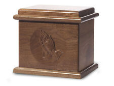 Wood Cremation Urn. Deluxe model with a Black Walnut Finish with Praying Hands