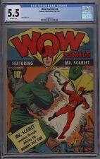 Wow Comics #3 CGC 5.5 FN- Fawcett Publications Mr. Scarlet 1941 James Wilcox Art