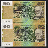 AUSTRALIA R-505.  (1973) 50 Dollars - Phillips/Wheeler.. UNC - CONSEC Pair
