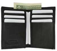 New Slim Thin Mens Bifold Genuine Leather ID Wallet Black Card Holder 71