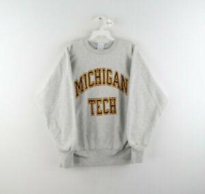 Vtg 80s Champion Reverse Weave Michigan Tech Sweatshirt Heather Gray USA Mens L