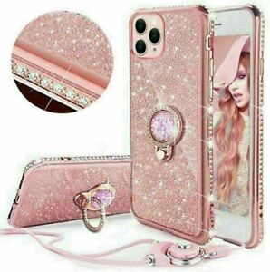 For iPhone 12 11 Pro Max XR Xs 8 7 + Bling Diamond Ring Holder Soft Cover Case