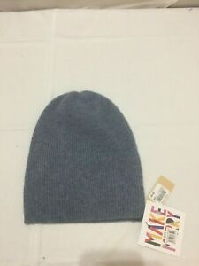 F585 HALOGEN Womens Ribbed Cashmere Beanie Blue Shadow Heather One Size
