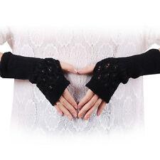 Moda Unisex Mujer Mitones Guantes Calientes Punto Cálido de invierno