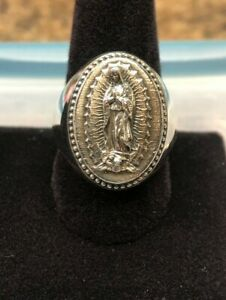 Virgin Mary Our lady of Guadalupe Large Ring Sterling Silver 925 Sizes 6-14 New!