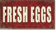 FRESH EGGS FARM BARN DECOR TRACTORS Metal 16 x 8 1/2 Tin Vintage Style Man Cave