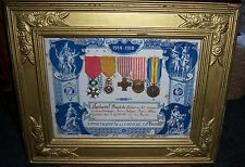 FRENCH  - Framed Collection & 5 Medals + Certificate . Inc. Legion of Honour etc