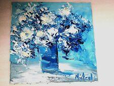 """Huile au Pinceau sur Toile de Lin """"Vase aux Fleurs en Bleu"""" d'après Mistral"""