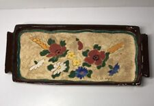 Plat Floral Signé J. Massier Jerome Vallauris Vintage H 2,8 L 33,3 l 14,5 Cm