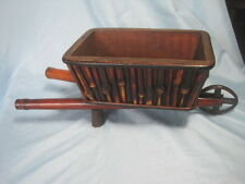 "VTG small wooden wheelbarrow wood Bamboo decor primitive rustic cart 19 x 5 x 5"""