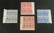 nystamps US Plate Block Stamp # 819//823 Mint OG NH $26 Plate Block Of 4