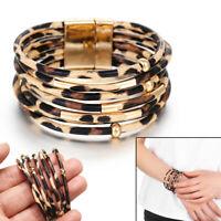 Fashion Charm Women Multi-layer Leopard Leather Beads Cuff Bangle Wrap Bracelet