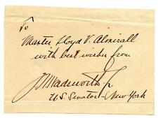 James Wolcott Wadsworth Jr. Autograph New York Senate House Representatives