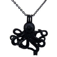 "Black 18"" Stainless Necklace - Octopus Pearl Beads Cage Locket Pendant"