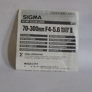 Sigma AF-MF Zoom 70-300mm f4-5.6 Macro Super II Lens Instructional Manual Guide