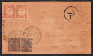 NETHERLANDS INDIES : incoming to Medan April 1930 Underpaid ex Tirrapattur, Indi