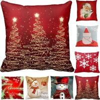 Merry Christmas Pillow Case Cotton Linen Throw Waist Cushion Cover Home Decor US