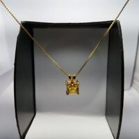 "1.35ct Yellow Citrine Square Pendant w/ 18"" Chain Necklace 14k Yellow Gold Over"