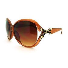 Bow Ribbon Design Women's Oversized Round Sunglasses Brown