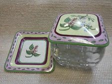 PARTY LITE SQUARE GLASS CANDLE HOLDER W/ PLATE & LID FLORAL DESIGN 3pc 141048