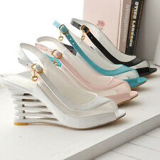 Ladies Synthetic Leather Wedge High Heels Shoes Slingbacks Sandals AU Size s318