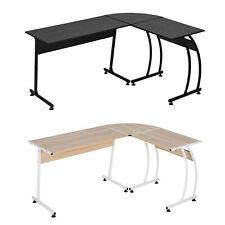 More details for l shaped corner desk home office study w/ steel frame adjustable feet