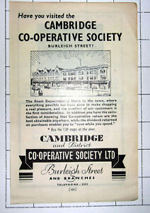 CAMBRIDGE CO-OPERATIVE SOCIETY Burleigh Street DEPARTMENTAL STORE ~ 1947 Advert